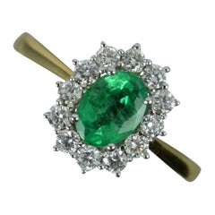 Classic 18 Carat Gold Emerald and Vs Diamond Cluster Ring