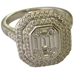 Classic 18 K Gold Emerald Cut Illusion Set Cluster Ring with a Micro Set Border