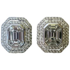 Classic 18 Karat Gold Emerald Cut Illusion Set Cluster Earrings