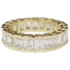 Classic 18k Yellow Gold Emerald Cut Diamond Channel Set Eternity Ring 5.10 Carat