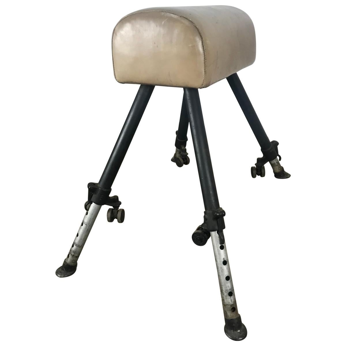Classic 1920s Adjustable Height Leather and Cast Iron Pommel Gym Horse
