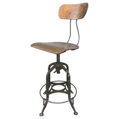 Classic 1930s Toledo Industrial Adjustable Height Swivel Stool with Back