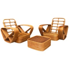 Classic 1940s 6-Banded Paul Frankl Lounge Chairs and Ottoman, Art Deco Style