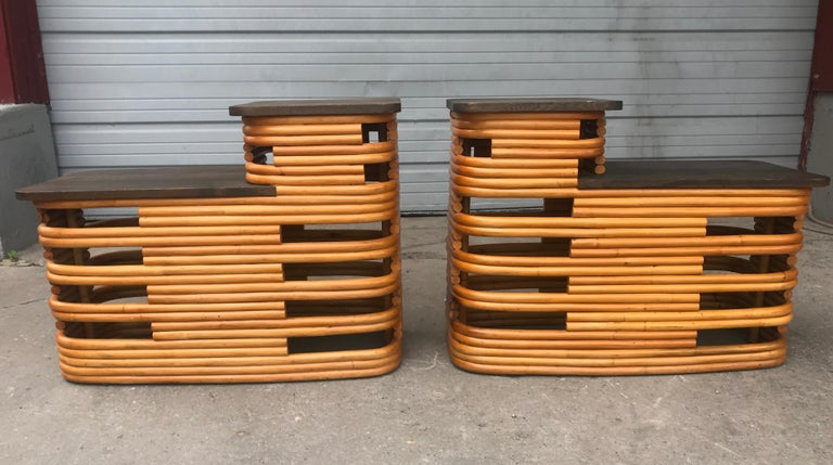 Classic 1940s Paul Frankl Rattan /bamboo step end tables. Art Deco design, tops have been restored, amazing design.