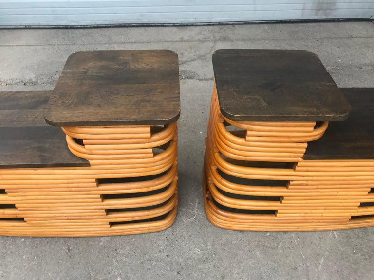 American Classic 1940s Paul Frankl Rattan /Bamboo Step End Tables, Art Deco Design For Sale