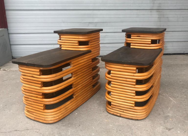 Classic 1940s Paul Frankl Rattan /Bamboo Step End Tables, Art Deco Design In Good Condition For Sale In Buffalo, NY