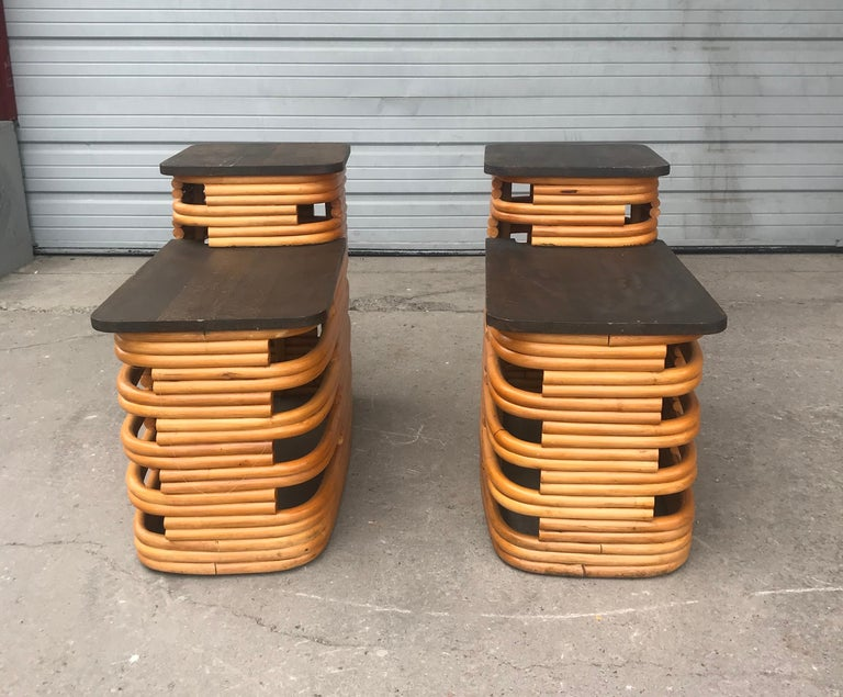 Mid-20th Century Classic 1940s Paul Frankl Rattan /Bamboo Step End Tables, Art Deco Design For Sale