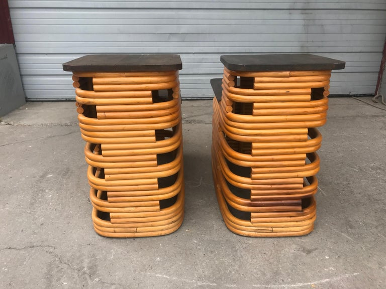 Classic 1940s Paul Frankl Rattan /Bamboo Step End Tables, Art Deco Design For Sale 1