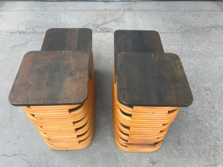 Classic 1940s Paul Frankl Rattan /Bamboo Step End Tables, Art Deco Design For Sale 2
