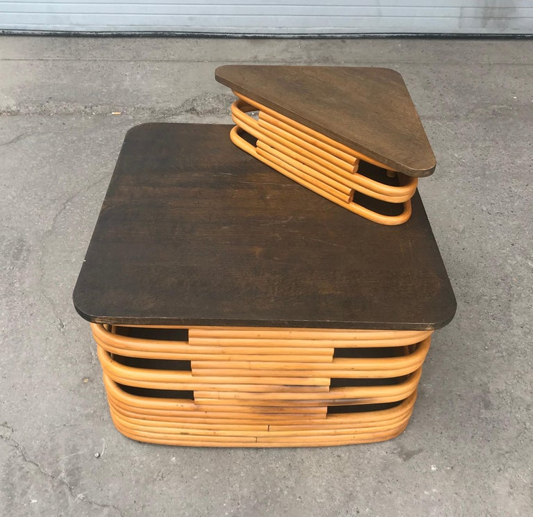 Classic 1940s Paul Frankl style Rattan/bamboo table. Pedestal. Art Deco style, amazing quality and construction, tops have been restored. Hand delivery avail to New York City or anywhere en route from Buffalo NY.