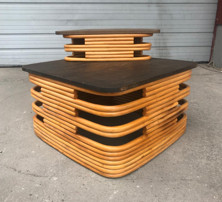 American Classic 1940s Rattan/ Bamboo Table or Art Deco Style after Paul Frankl For Sale