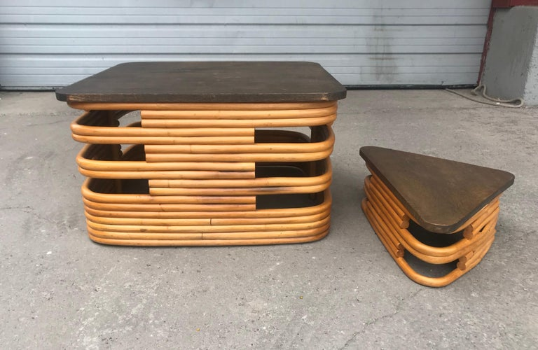 Mid-20th Century Classic 1940s Rattan/ Bamboo Table or Art Deco Style after Paul Frankl For Sale