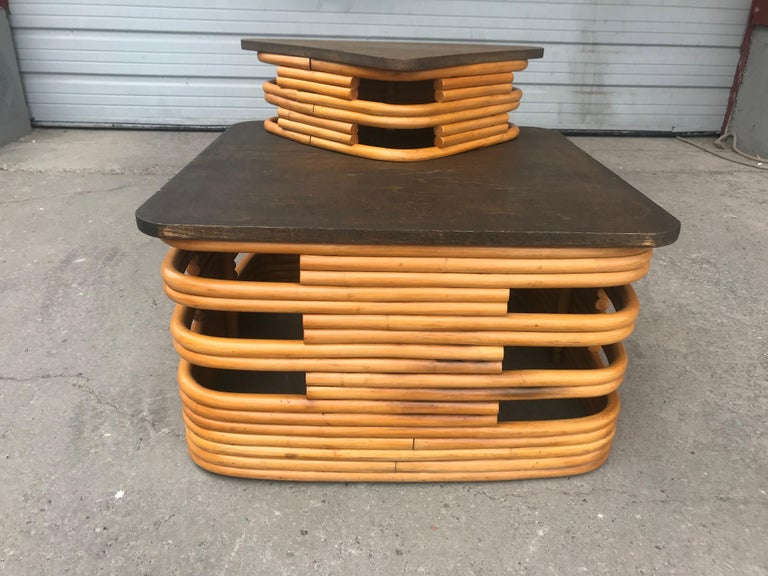 Classic 1940s Rattan/ Bamboo Table or Art Deco Style after Paul Frankl For Sale 1