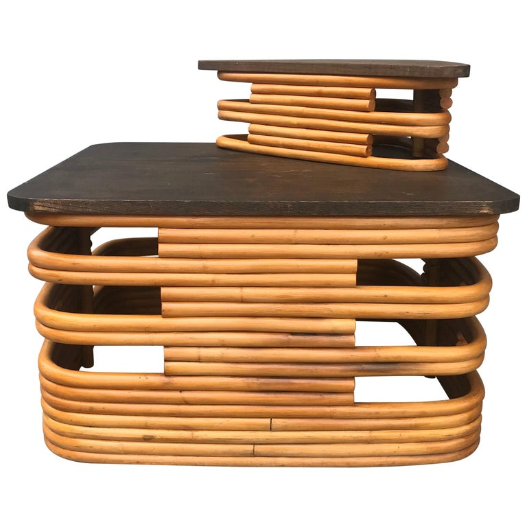 Classic 1940s Rattan/ Bamboo Table or Art Deco Style after Paul Frankl For Sale