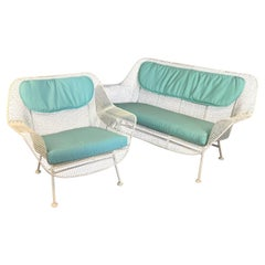 Classic 1950's Sculptura Settee and Lounge Chair by Russell Woodard