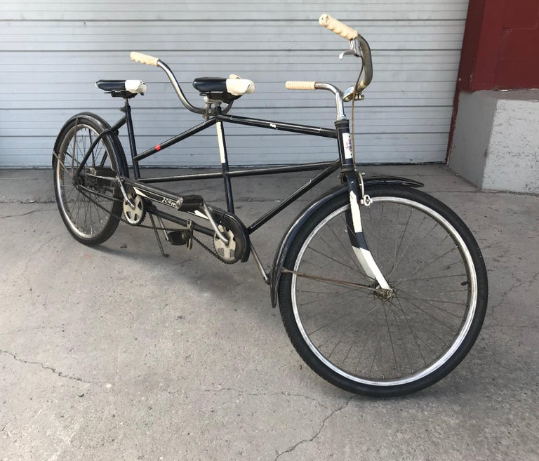 Classic 1950s Tandem bike, bicycle built for two by J C Higgins Schwinn. Retains all original parts grips pedels tires seats etc. Amazing original condition Original color paint and finish Unrestored, ready to ride. Hand delivery avail to New York