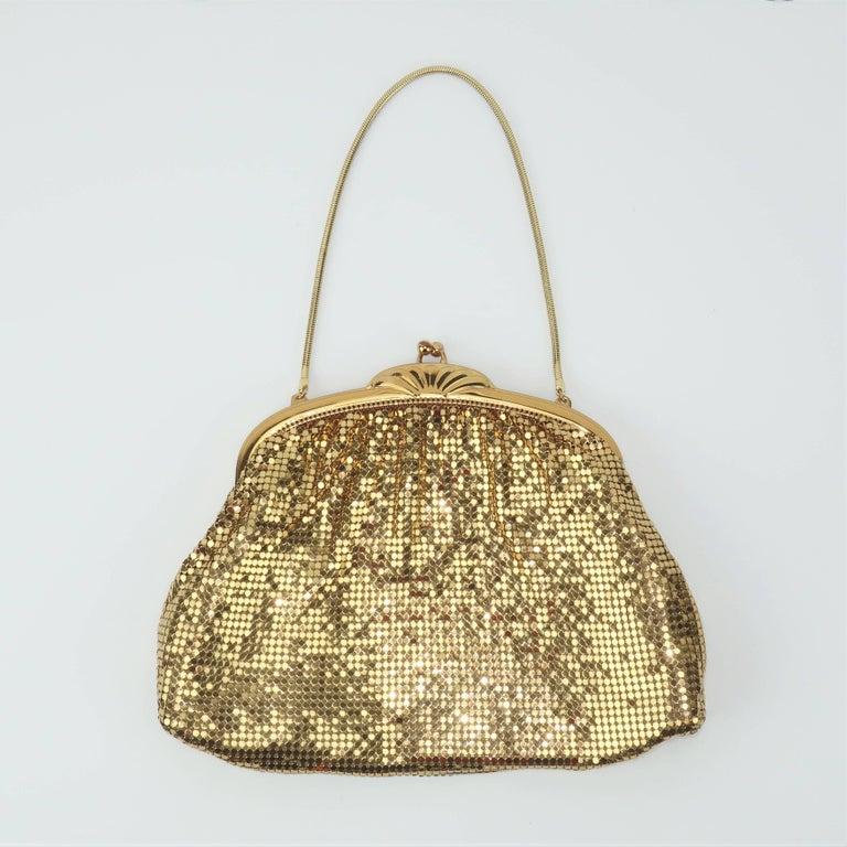 Brown Classic 1950's Whiting & Davis Gold Mesh Evening Handbag For Sale