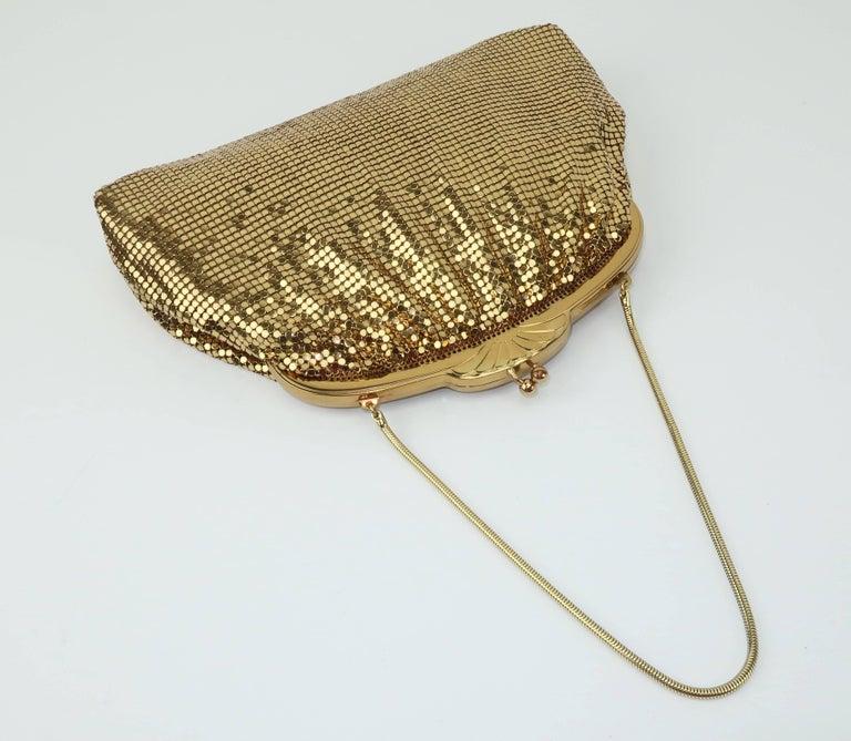 Classic 1950's Whiting & Davis Gold Mesh Evening Handbag For Sale 1