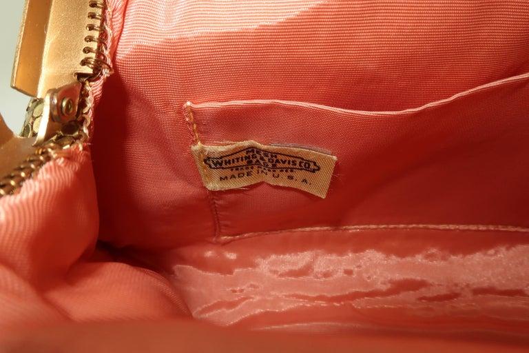 Classic 1950's Whiting & Davis Gold Mesh Evening Handbag For Sale 3