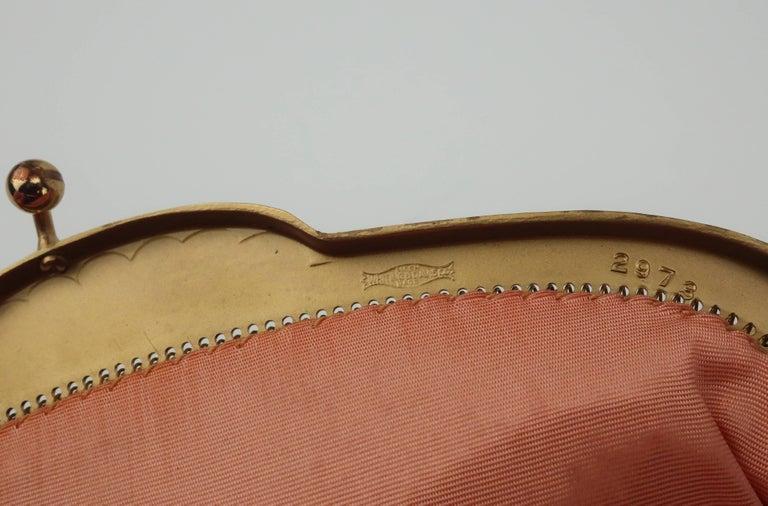 Classic 1950's Whiting & Davis Gold Mesh Evening Handbag For Sale 4