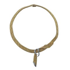 Classic 1960s Diamond Yellow Gold Necklace