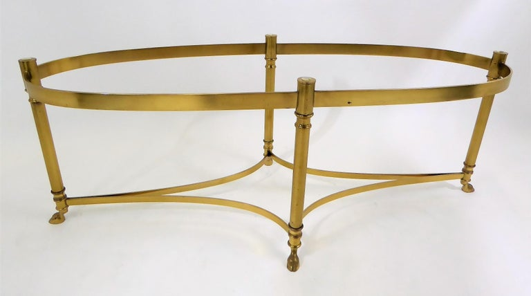 Classic 1970s Hollywood Regency Labarge Brass Hooved Foot Coffee Table For Sale 6