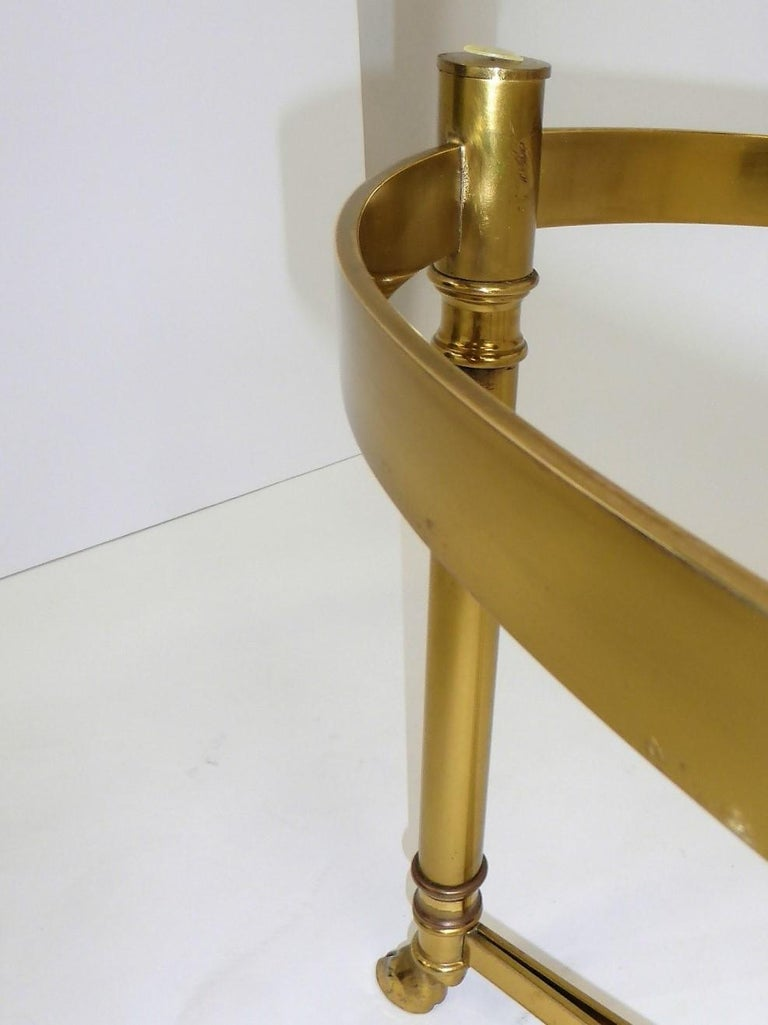 Classic 1970s Hollywood Regency Labarge Brass Hooved Foot Coffee Table For Sale 7