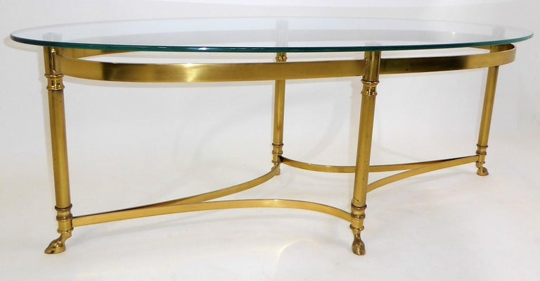 Classic 1970s Hollywood Regency Labarge Brass Hooved Foot Coffee Table In Good Condition For Sale In Miami, FL