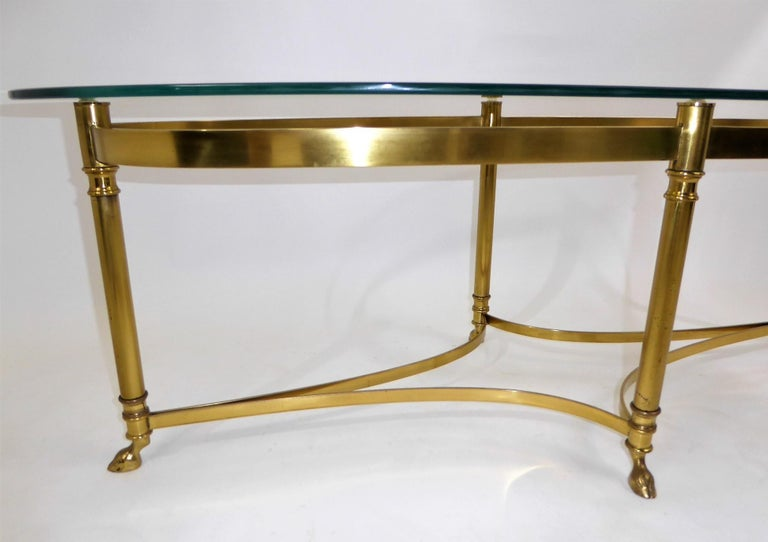 Classic 1970s Hollywood Regency Labarge Brass Hooved Foot Coffee Table For Sale 1