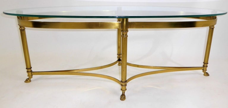 Classic 1970s Hollywood Regency Labarge Brass Hooved Foot Coffee Table For Sale 2