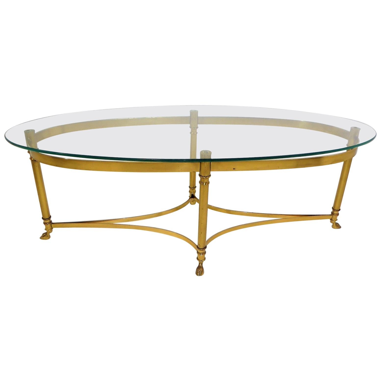 Classic 1970s Hollywood Regency Labarge Brass Hooved Foot Coffee Table