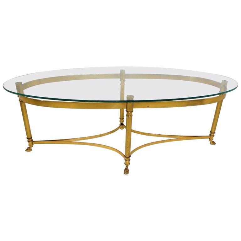 Classic 1970s Hollywood Regency Labarge Brass Hooved Foot Coffee Table For Sale
