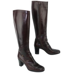 Classic 1970's Salvatore Ferragamo Dark Brown Leather Knee High Boots Sz 8AA