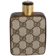 Classic 1980s Gucci Brown Double G Monogram Bar Flask, Rare