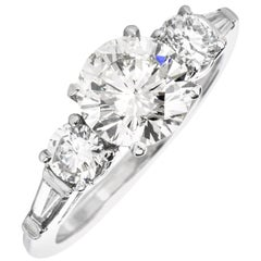 Classic 2.11 Round and Baguette Diamond Platinum Engagement Ring