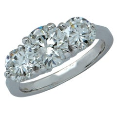 Classic 2.9 Carat Round Brilliant Cut Diamond Three-Stone Engagement Ring