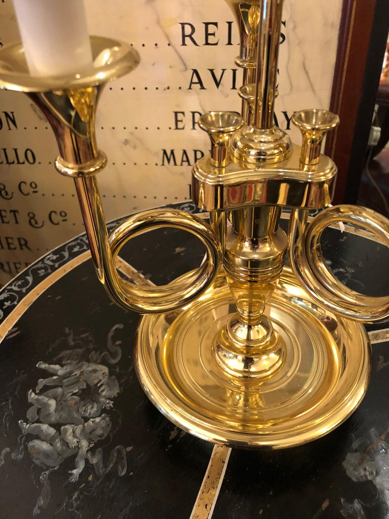 classic 3 arm brass french horn style table lamp by baldwin for sale at 1stdibs. Black Bedroom Furniture Sets. Home Design Ideas