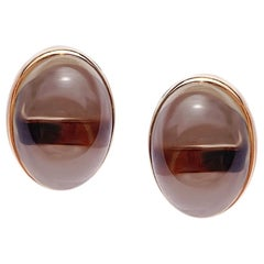 Classic 30 Carat Smoky Quartz Yellow Gold 18 Karat Earrings