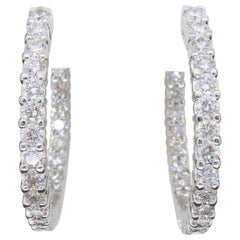Classic 3.06 Carat Diamond Inside Out Hoop Earrings