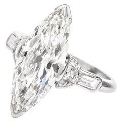 Classic 3.43 Carat Marquise Diamond Platinum Engagement Ring