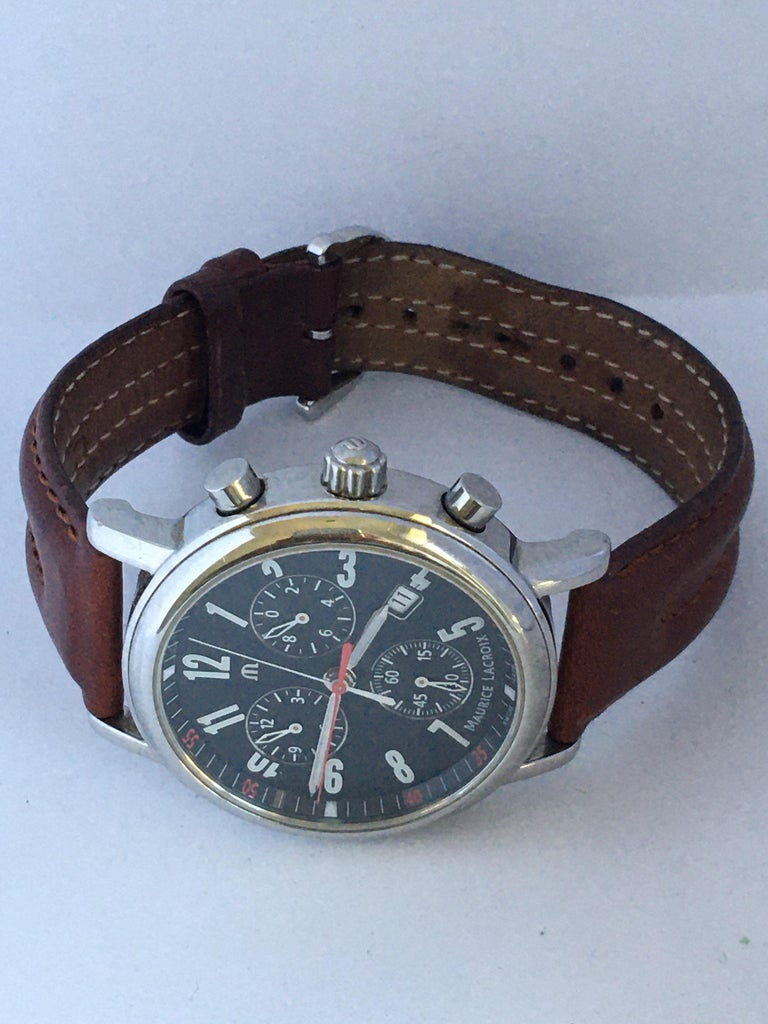 Classic Stainless Steel Maurice Lacroix LC1038 Chronograph Watch For Sale 6