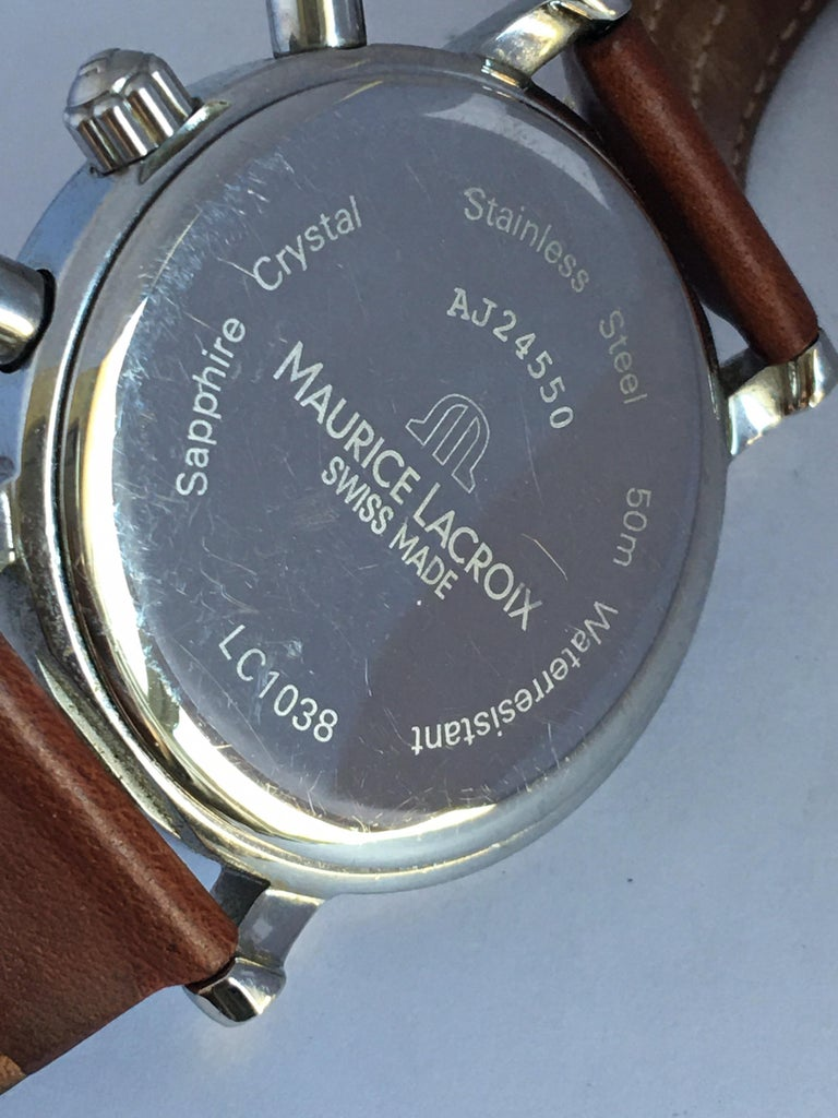 Classic Stainless Steel Maurice Lacroix LC1038 Chronograph Watch For Sale 8