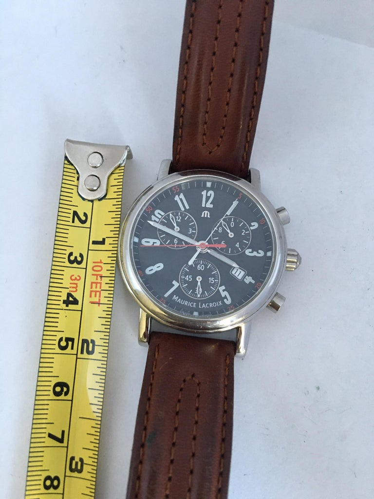Classic Stainless Steel Maurice Lacroix LC1038 Chronograph Watch For Sale 9