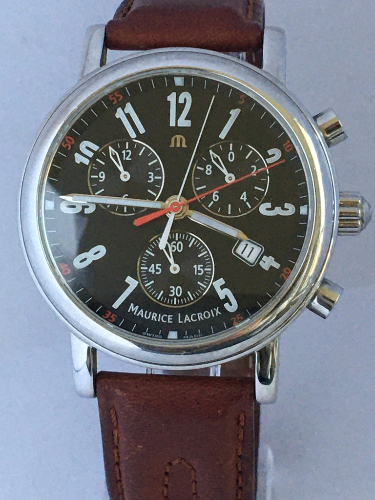Classic Stainless Steel Maurice Lacroix LC1038 Chronograph Watch For Sale 11