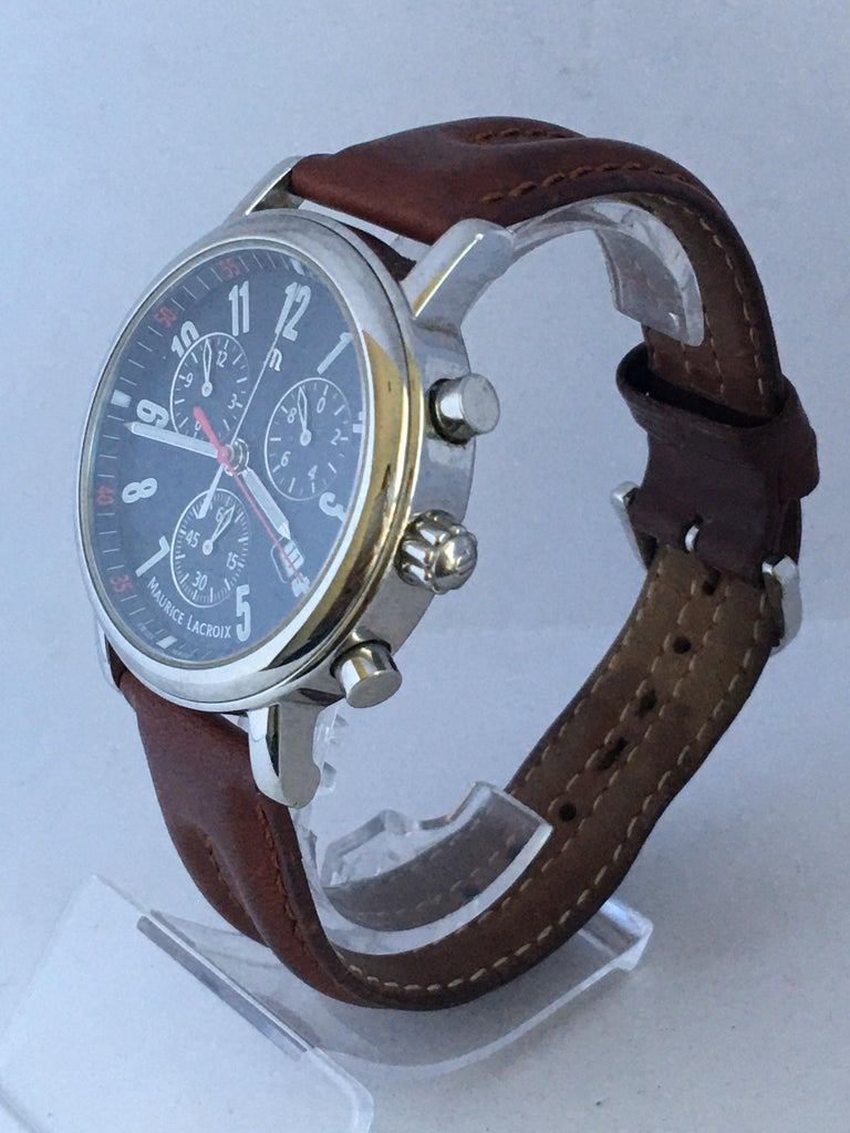Classic Stainless Steel Maurice Lacroix LC1038 Chronograph Watch In Good Condition For Sale In Carlisle, GB