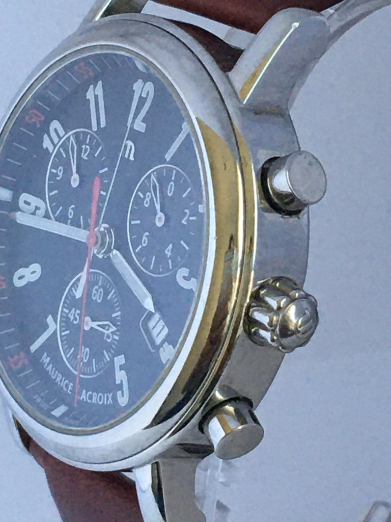 Classic Stainless Steel Maurice Lacroix LC1038 Chronograph Watch For Sale 1