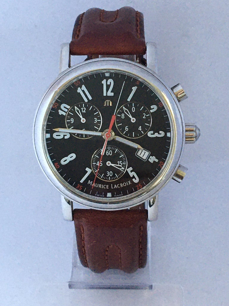 Classic Stainless Steel Maurice Lacroix LC1038 Chronograph Watch For Sale 5
