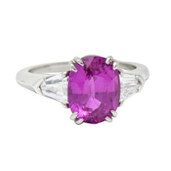 Classic 4.11 Carats Pink Sapphire Diamond Platinum Three Stone Ring AGL