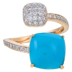 Classic 5.22 Carat Turquoise and Diamonds 18 Karat Open Band Yellow Gold Ring