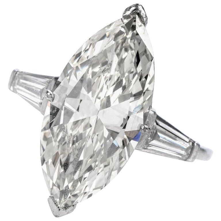 Classic 6.49 Carat Marquise Diamond Platinum  Engagement Ring For Sale